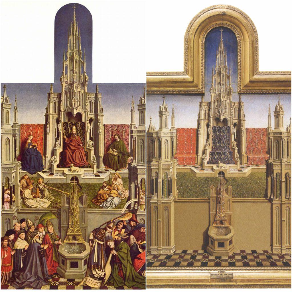 14. La fuente de gracia, Escuela de Jan van Eyck