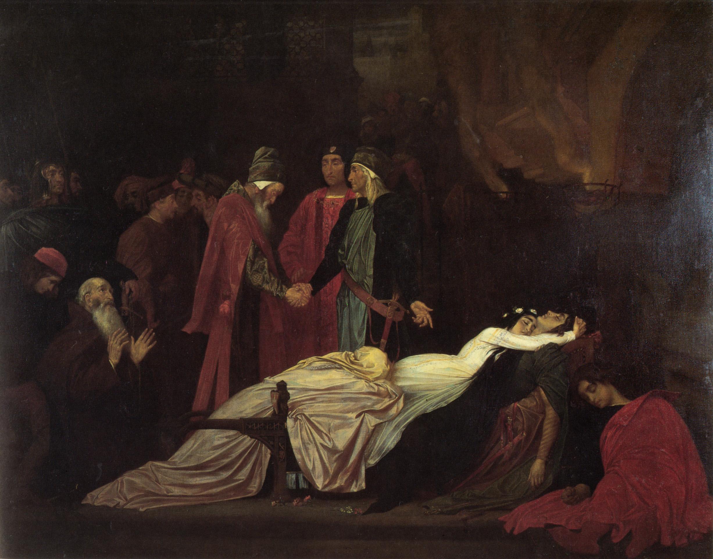 5. La reconciliación entre los Montesco y los Capuleto tras la muerte de Romeo y Julieta, Frederic Leighton, 1855