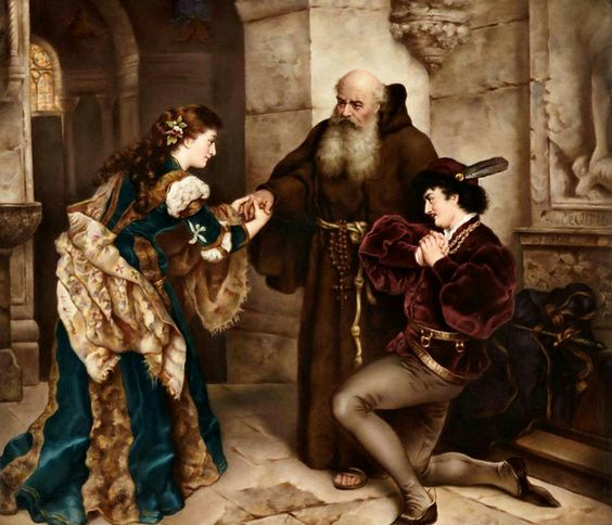 9. Romeo y Julieta delante del Padre Lorenzo, Karl Ludwig Friedrich Becker, 1870