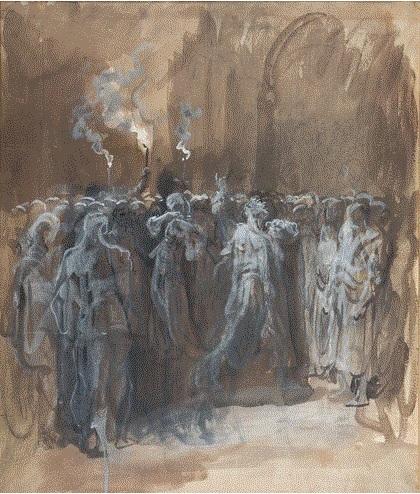 16. Ilustración de una escena de Macbeth de William Shakespeare, Gustave Doré, 1875-7