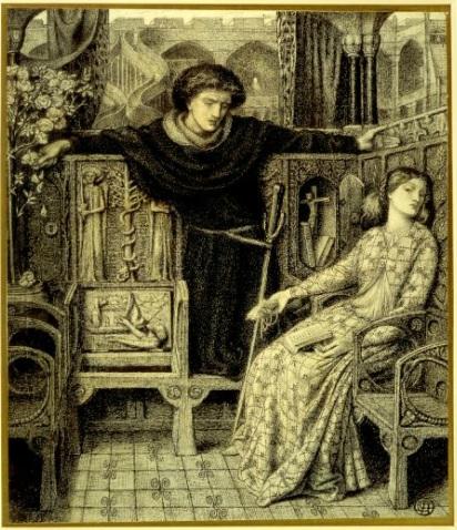 8. Rossetti, Hamlet y Ofelia, 1858
