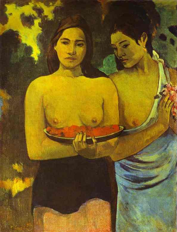 7. Dos Mujeres de Tahiti con flores de Mango
