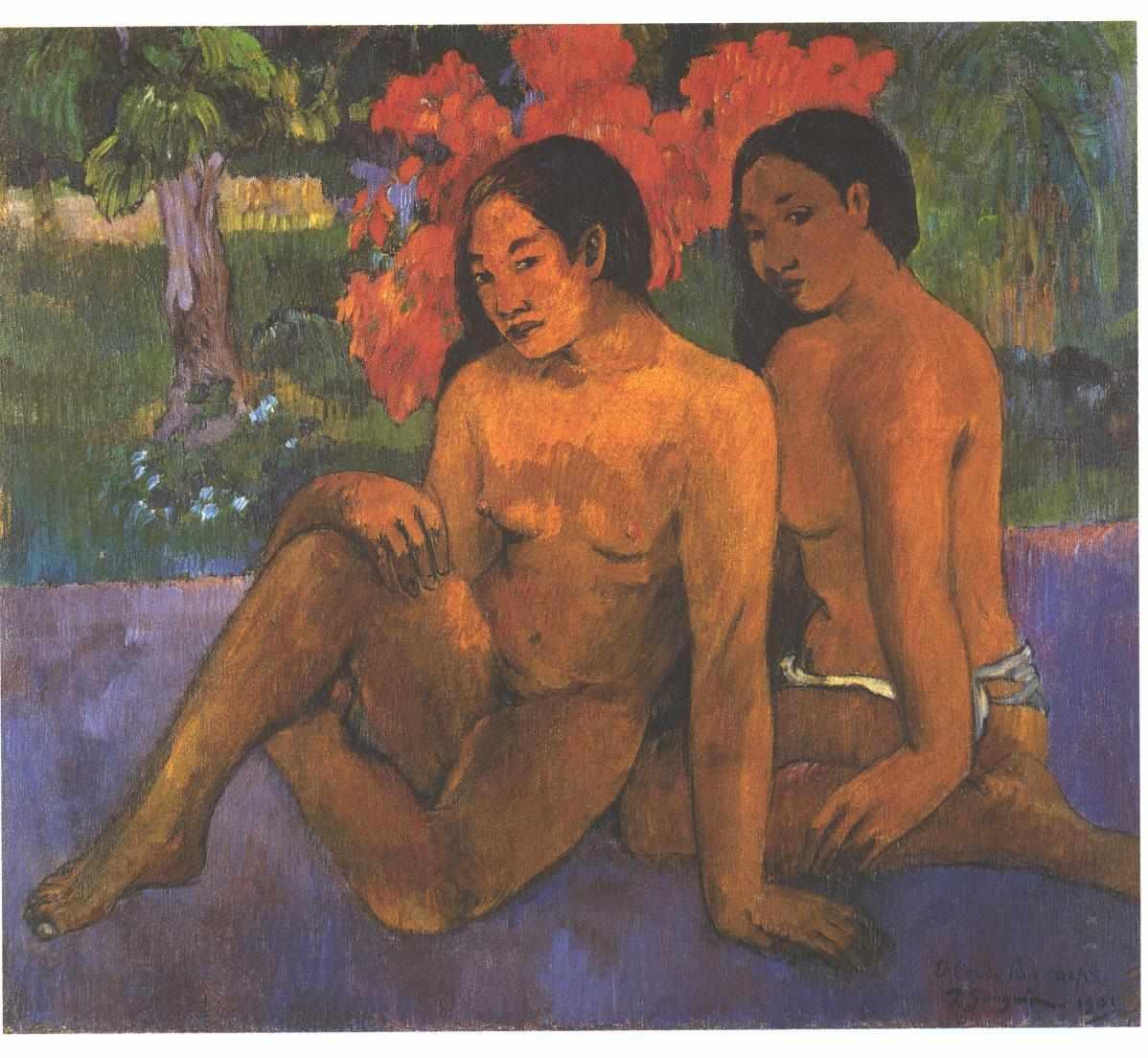 8. Mujeres tahitianas sentadas