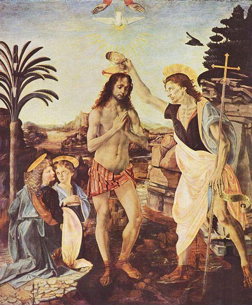 21. Verrocchio y Leonardo da Vinci, Bautismo de Cristo