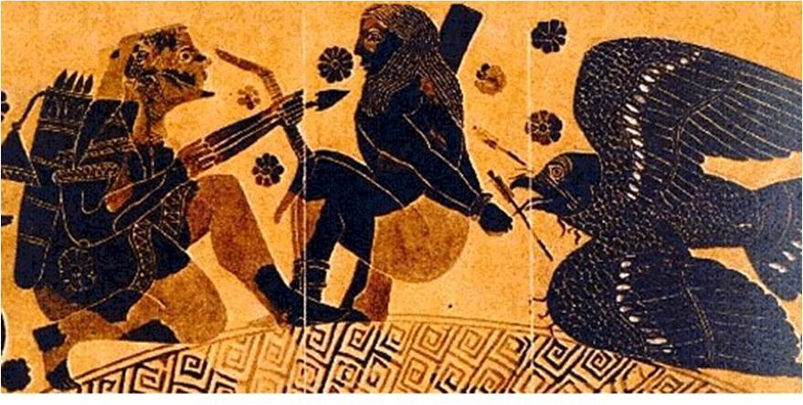 15. Heracles liberando a Prometeo