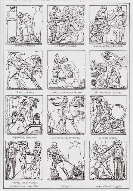 2. Dodekathlos en las metopas del Templo de Zeus en Olimpia