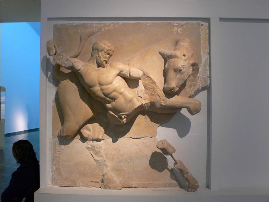 9. Heracles y el Toro de Creta, metopa, Templo de Zeus en Olimpia