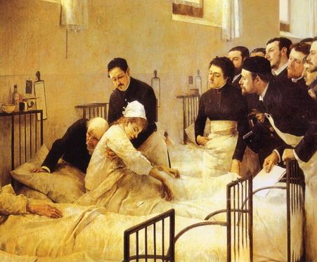 1. La sala de hospital durante la visita del médico