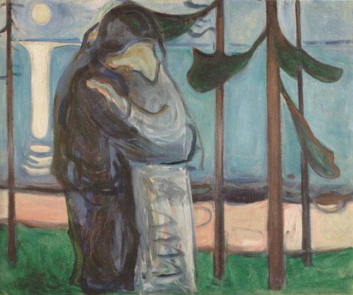 12. Munch, Beso en la orilla bajo la luz de la luna