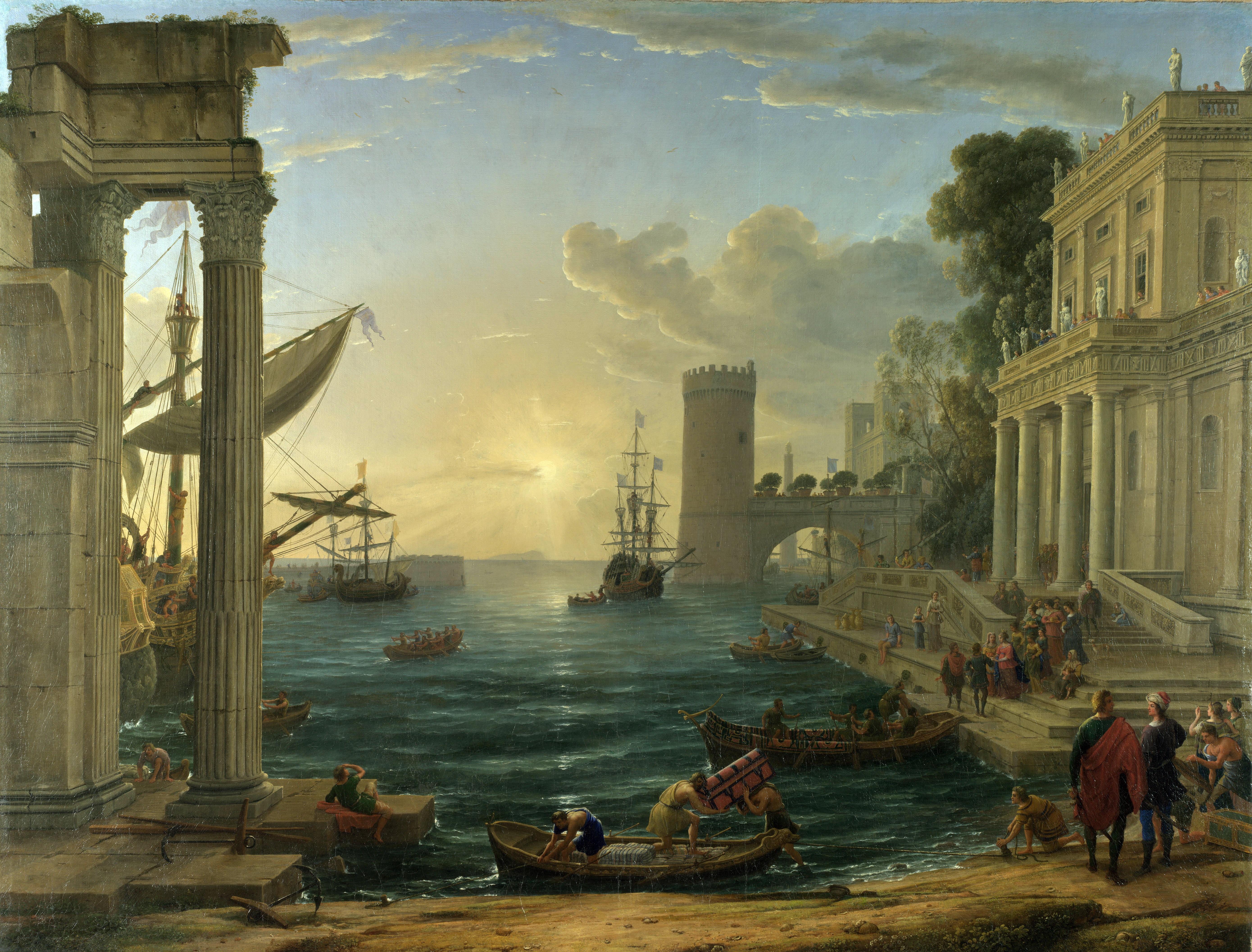 6. Puerto con el embarque de la Reina de Saba, Claudio de Lorena