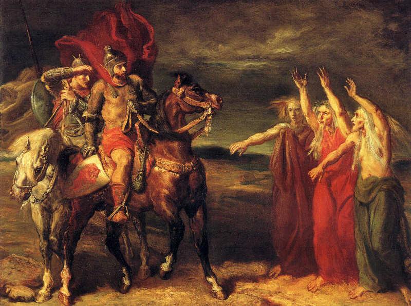 13. Macbeth y Banquo reuniéndose con las brujas en el brezal, Theodore Chasseriau,, 1855
