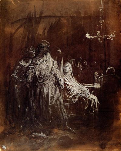 14. La aparición del espectro de Banquo en el banquete de Macbeth, Gustave Doré, 1855