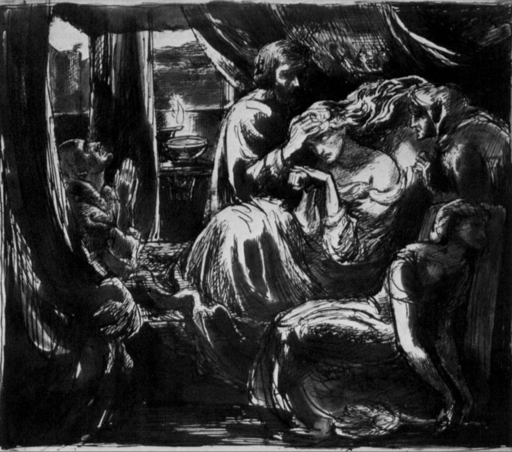15. Estudio para la Muerte de Lady Macbeth, Rossetti, 1875