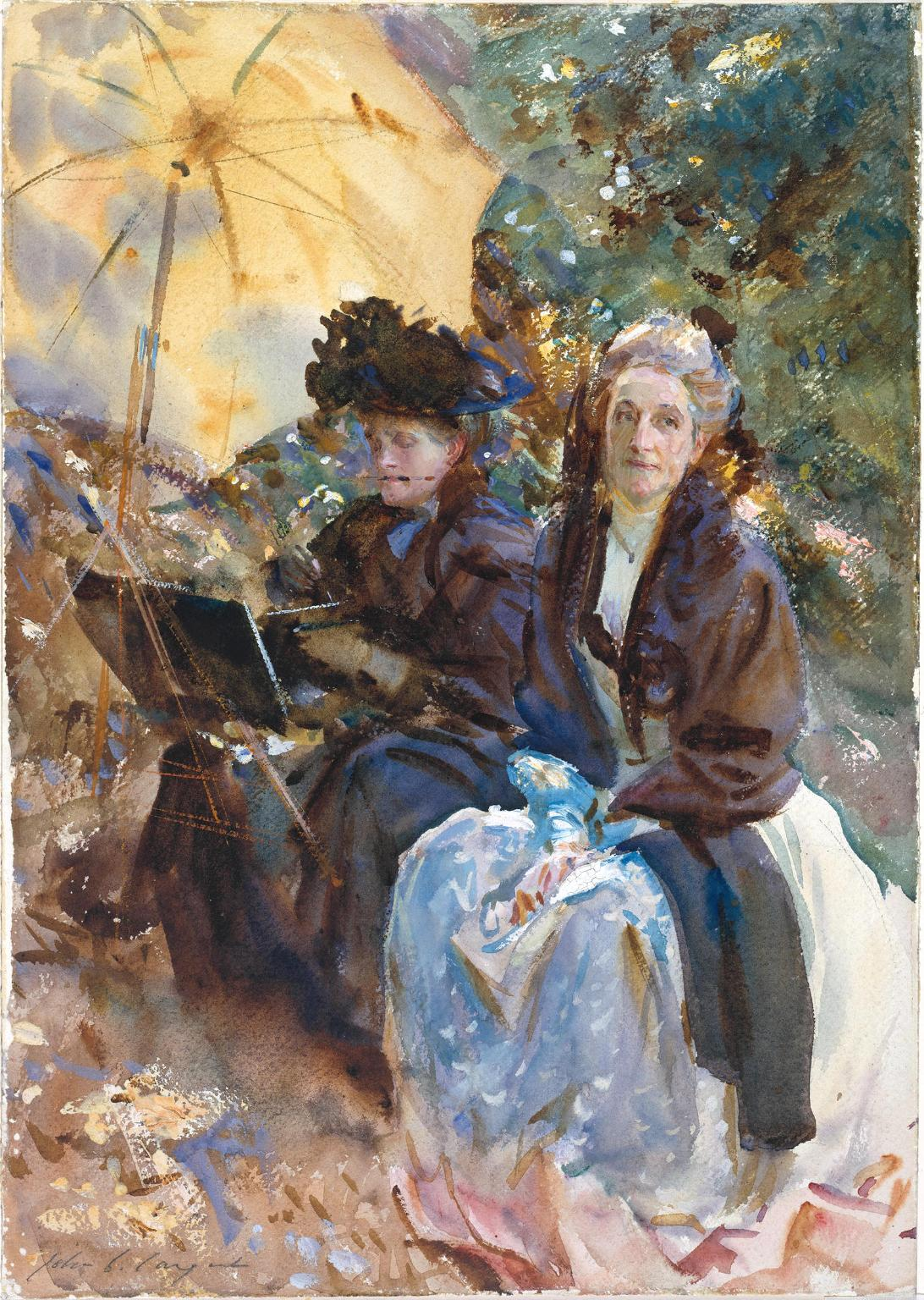 Miss Eliza Wedgwood and Miss Sargent Sketching 1908 by John Singer Sargent 1856-1925