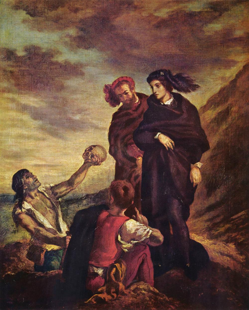 6. Delacroix, Hamlet y Horacio en el cementerio, ante el sepulturero y la calavera de Yorick, 1839