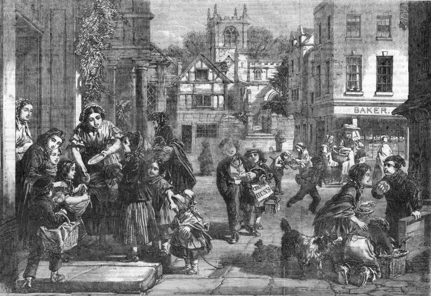 food-hot-cross-buns-antique-print-1861-105910-p